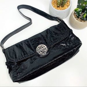 Kate Landry Black Handbag Silver Signature Accent